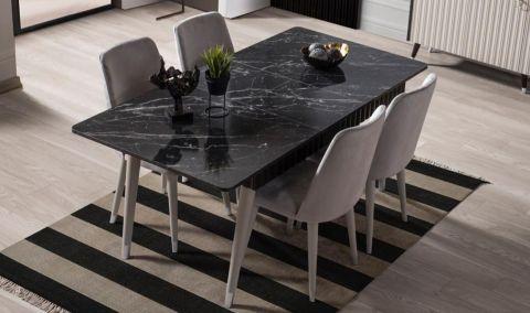 Medusa Home - Daisy Siyah Gri Yemek Masası