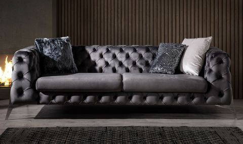Medusa Home - Lexus Silver Üçlü Koltuk Antrasit