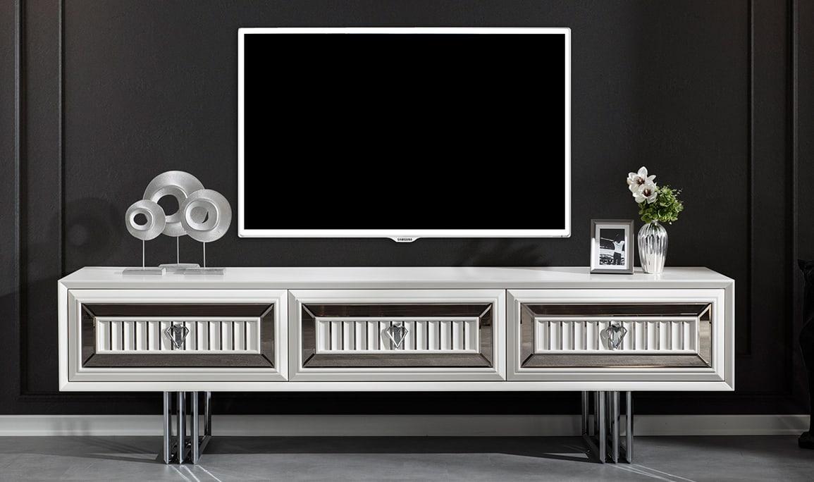 Roma Beyaz Luxury Tv Ünitesi