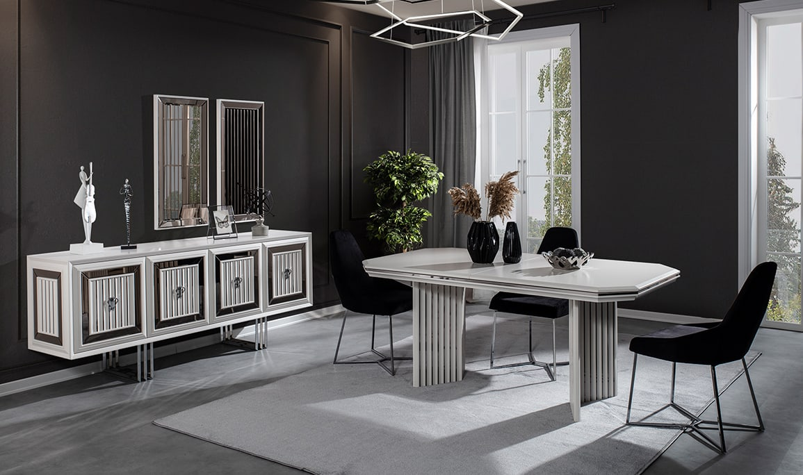 Roma Beyaz Luxury Yemek Odası