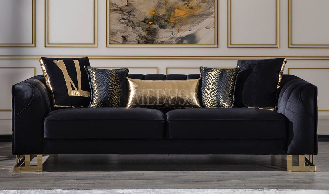 Vizyon Luxury Siyah Üçlü Koltuk